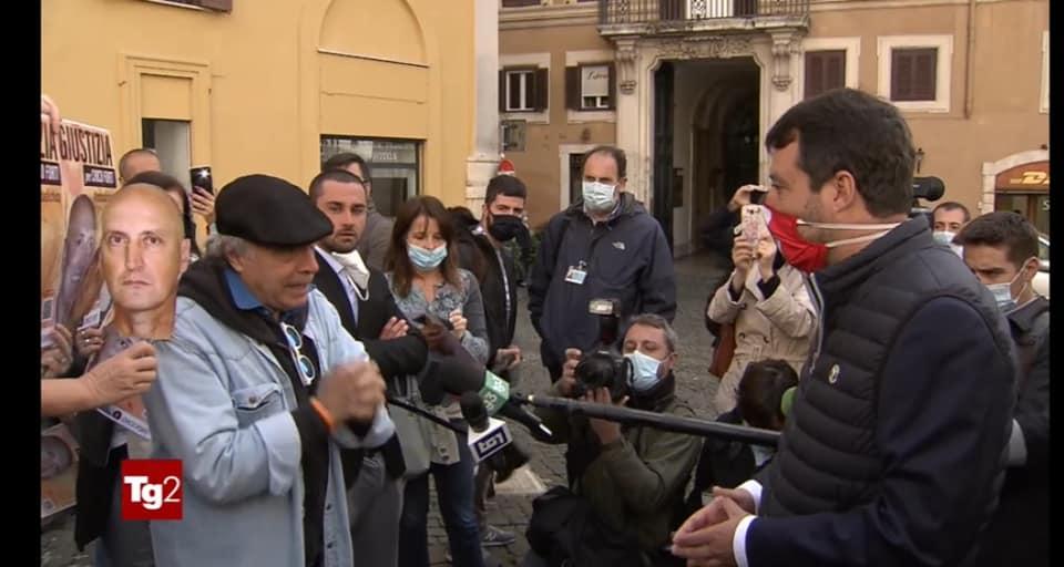 Salvini ed Enrico Montesano a Montecitorio per sostenere Chico Forti