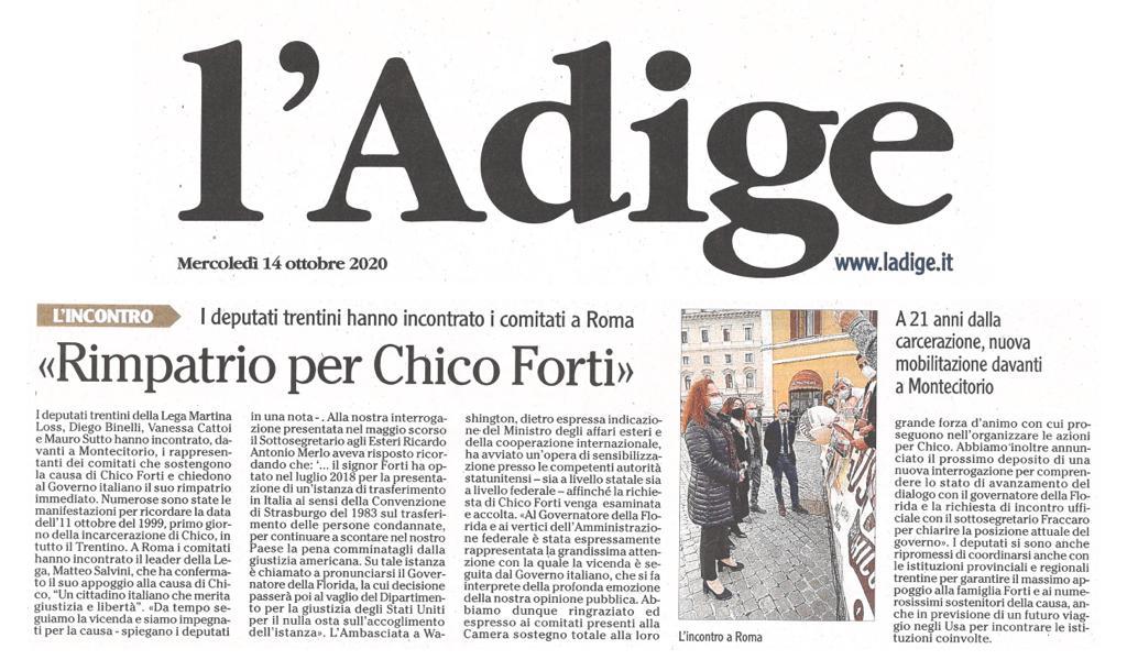 """L'Adige: """"rimpatrio per Chico Forti"""""""