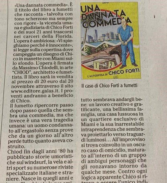 """L'ADIGE – """"Esce «Una dannata commedia», il caso di Chico Forti a Fumetti"""""""