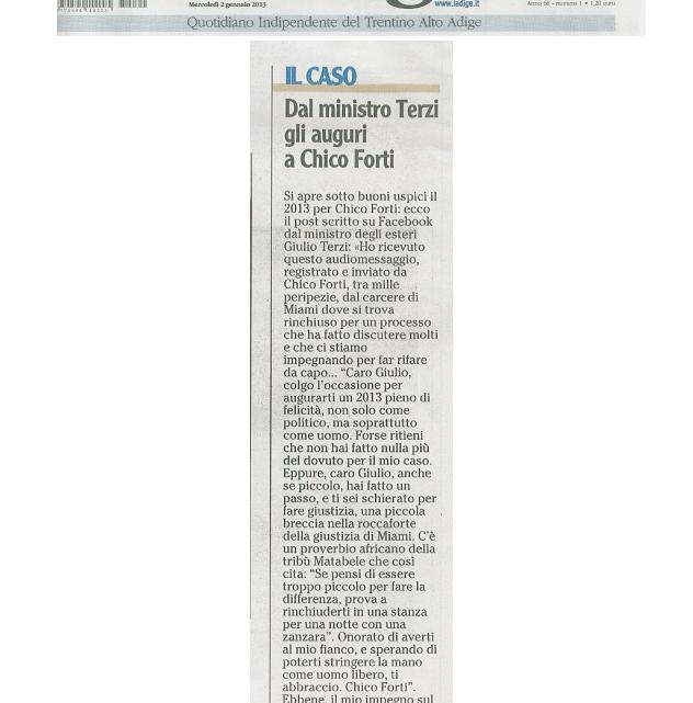 """ADIGE – 2 Gennaio 2013: """"Dal ministro Terzi, gli auguri a Chico Forti"""""""