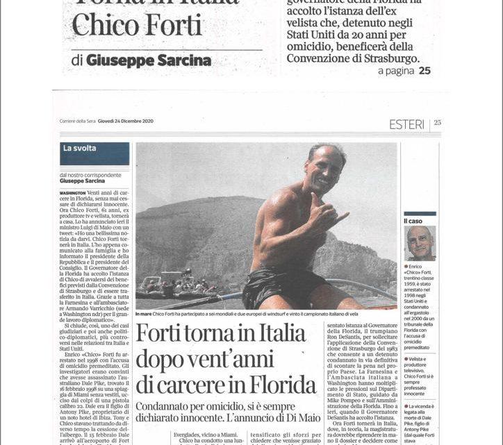 CORRIERE DELLA SERA – Torna in Italia Chico Forti
