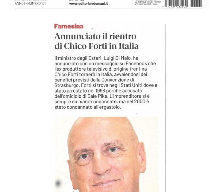 DOMANI – Annunciato il rientro di Chico Forti in Italia