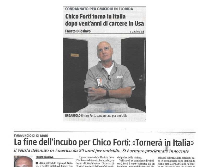 IL GIORNALE – Chico Forti torna in Italia dopo vent'anni di carcere in Usa