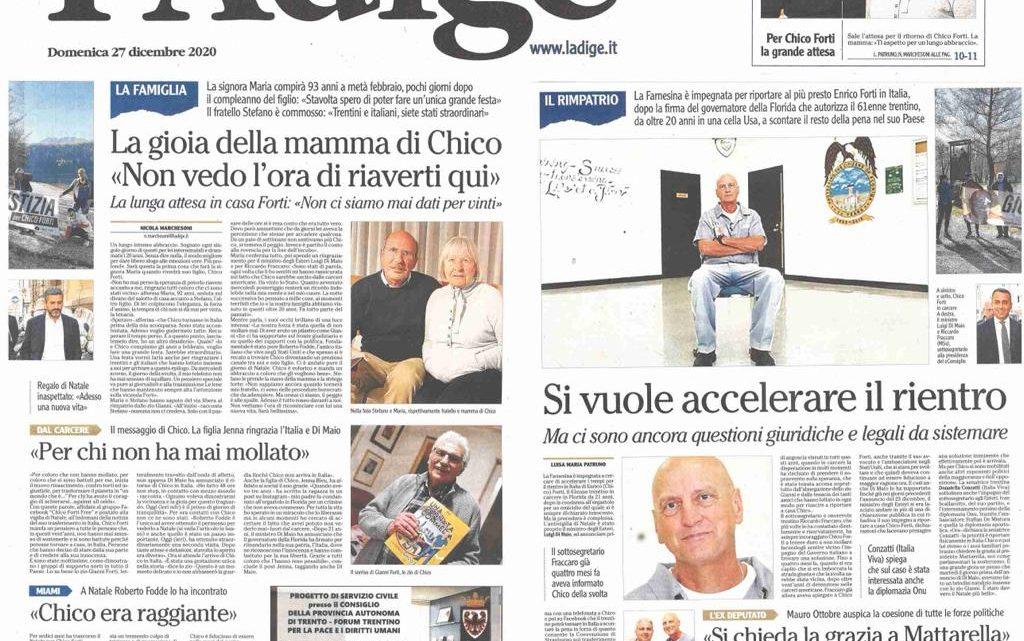 """L'ADIGE – La gioia della mamma di Chico """"non vedo l'ora di riaverti qui in Italia"""""""