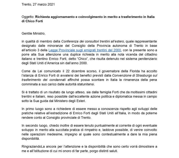 ALEX MARINI: formale nota a ministro Di Maio per partecipare a iniziative per accelerare procedure rimpatrio