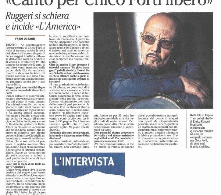 """L'ADIGE – Enrico Ruggeri """"Canto per Chico Forti"""""""