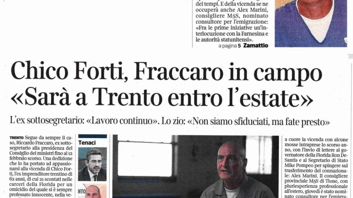 """CORRIERE DEL TRENTINO – """"Chico Forti a Trento entro l'estate"""""""