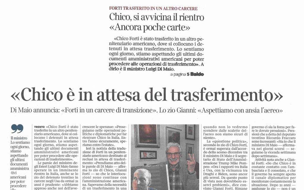 """CORRIERE DEL TRENTINO – """"Chico è in attesa del trasferimento""""."""