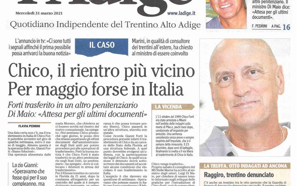 """L'ADIGE – """"Chico, il rientro più vicino. Per maggio forse in Italia"""""""