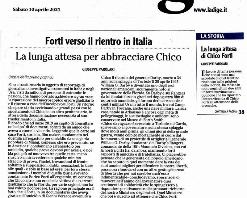 """L'ADIGE – """"Forti verso il rientro in Italia"""""""