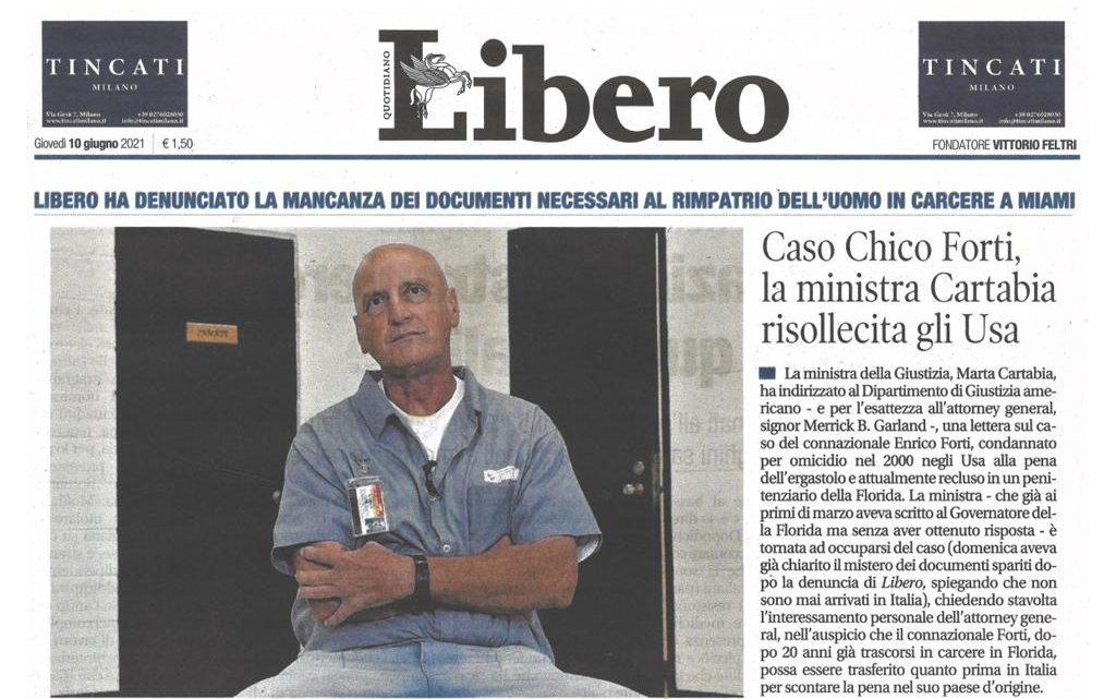 LIBERO – Caso Chico Forti – la ministra Cartabia risollecita gli Usa