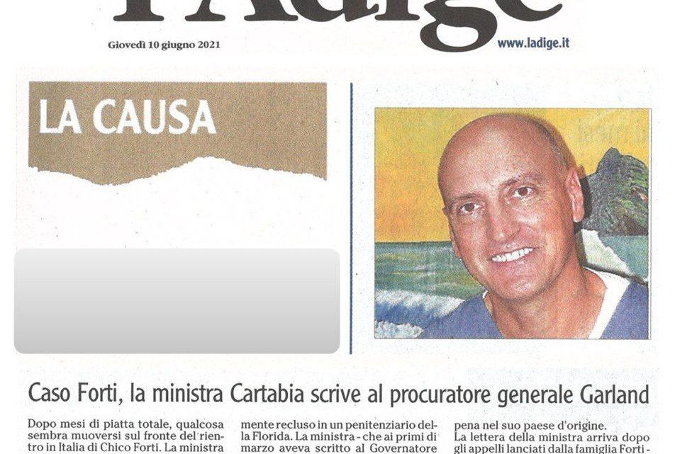 L'ADIGE – Caso Forti, la Ministra Cartabia scrive al Procuratore Generale Garland