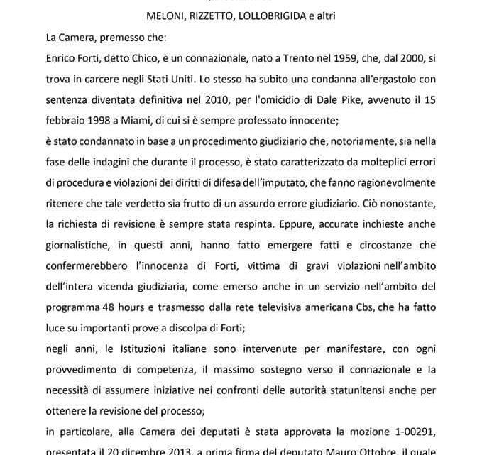 Atto Camera – Mozione a favore di Chico Forti presentata da Meloni, Rizzetto, Lollobrigida e altri