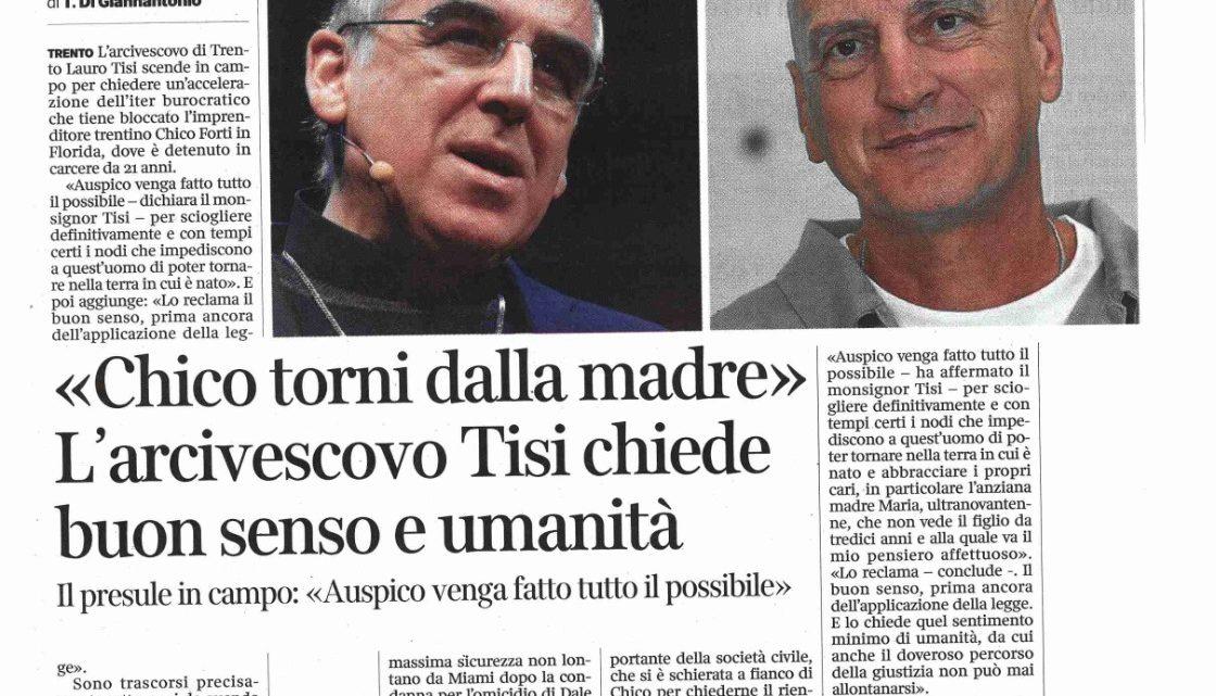 """CORRIERE DEL TRENTINO – Arcivescovo Tisi: """"Chico torni dalla madre"""""""