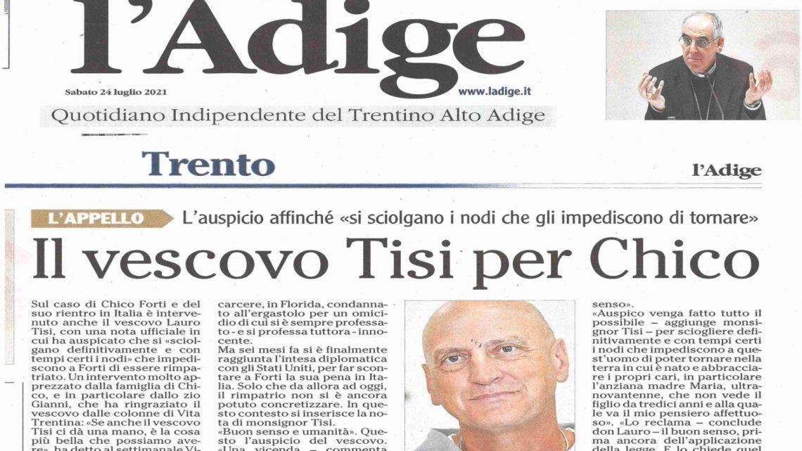 """L'ADIGE – """"Vescovo Tisi per Chico"""""""