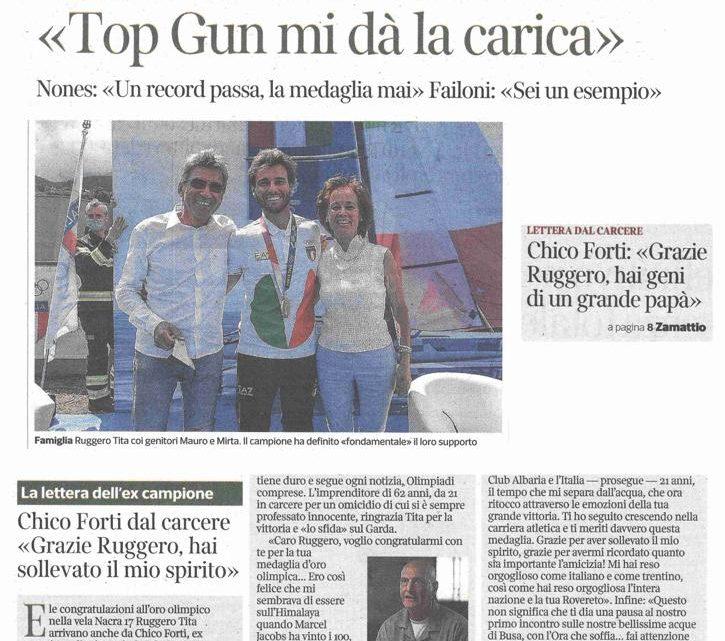 """CORRIERE DEL TRENTINO – Chico Forti: """"Grazie Ruggero, hai geni di un grande papà"""""""