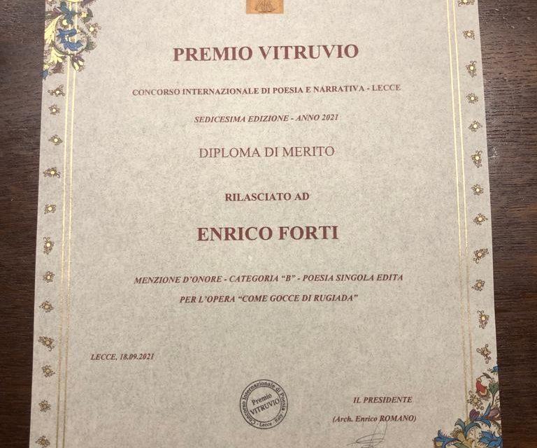 Chico premiato al Concorso Internazionale di Poesia – PREMIO VITRUVIO 2021